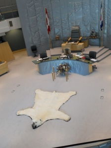 Polar bear rug at the Legislature