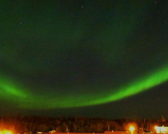 Aurora borealis over the Great Slave Lake