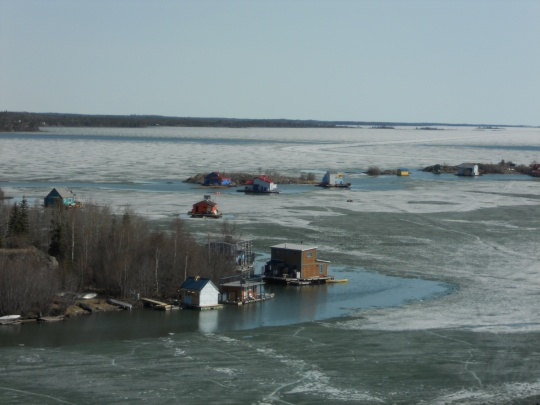 House boats on Yellowknife Bay
