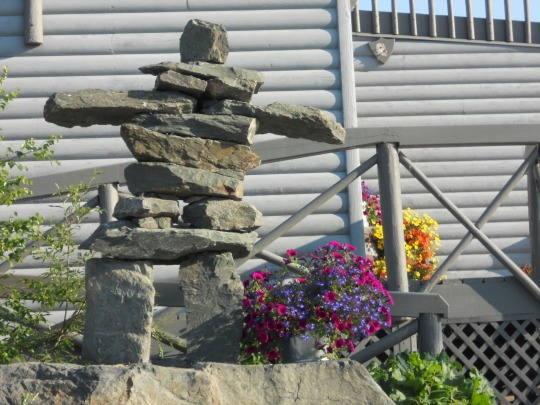 Inukshuk with flowers