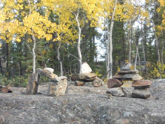 Cameron Falls trail inukshuk