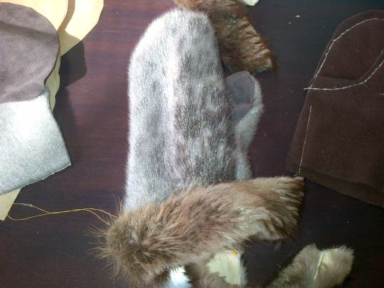 Sealskin mitten - almost done