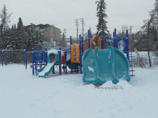 Snow-covered playground