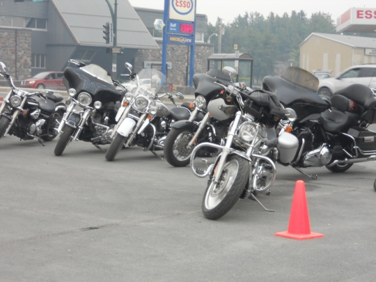 Motorbikes on display