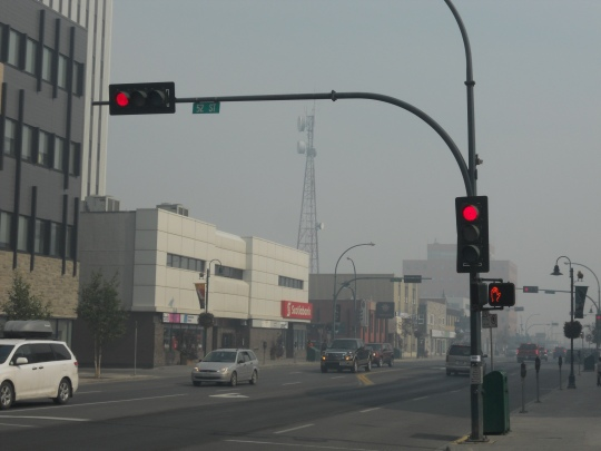 City of Yellowknife covered in smoke