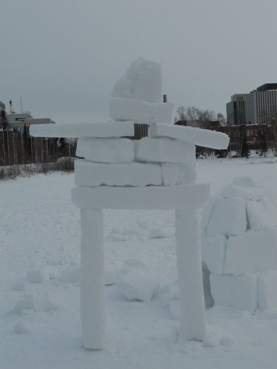 Inukshuk made from blocks of snow