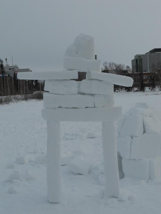 Inukshuk made from blocks of snow