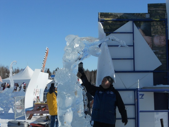 Ice carving final touches