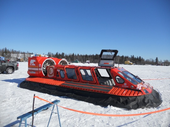 Hovercraft on frozen Yellowknife Bay