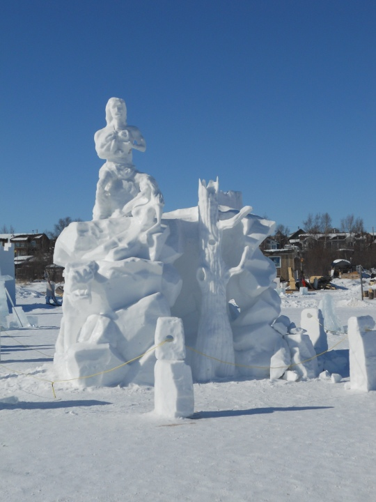Snow sculptures outside the Yellowknife Snow Castle