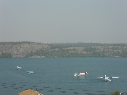 Float-planes forming a taxi queue in Back Bay
